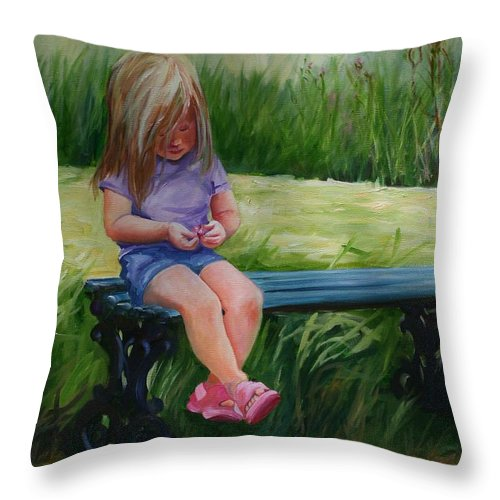 Child Throw Pillow featuring the painting Hot And Tired by Lynn Chatman