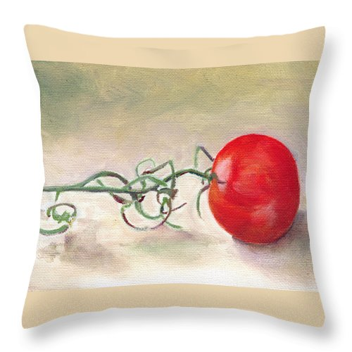 Food Throw Pillow featuring the painting Hot-house Tomato by Sarah Lynch