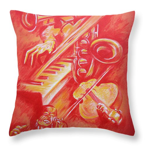 Jazz Music Instruments Singing Acrylic Canvas Throw Pillow featuring the painting Hot Jazz by Shaun McNicholas