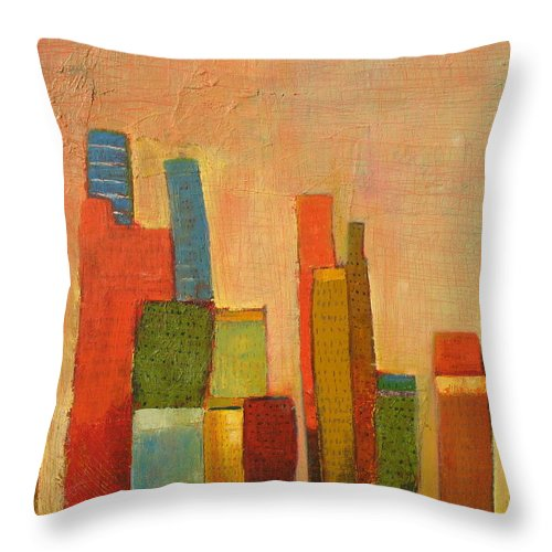 Abstract Cityscape Throw Pillow featuring the painting Hot Manhattan by Habib Ayat