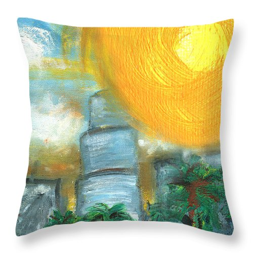 Miami Throw Pillow featuring the painting Hot Miami Sky by Jorge Delara