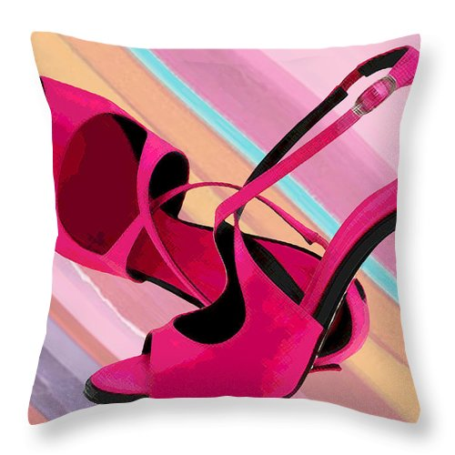 Shoes Heels Pumps Fashion Designer Feet Foot Shoe Throw Pillow featuring the painting Hot Momma's Hot Pink Pumps by Elaine Plesser