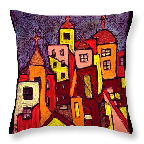 City Scapes Throw Pillow featuring the painting Hot Night In The City by Wayne Potrafka