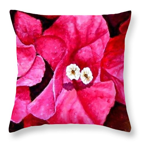Oil Throw Pillow featuring the painting Hot Pink Bougainvillea by Darla Brock