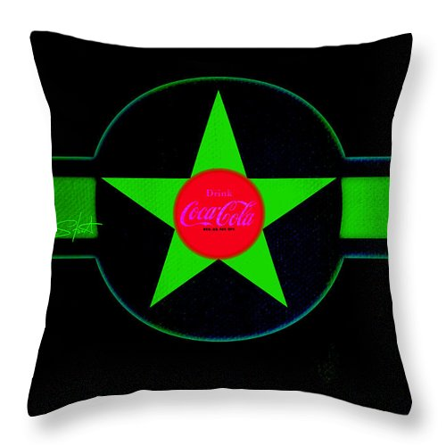 Label Throw Pillow featuring the painting Hot Red On Cool Green by Charles Stuart