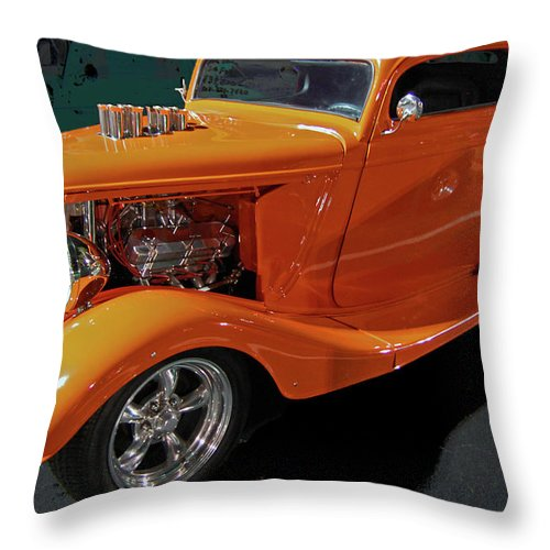 Hot Rod Throw Pillow featuring the digital art Hot Rod Orange by DigiArt Diaries by Vicky B Fuller