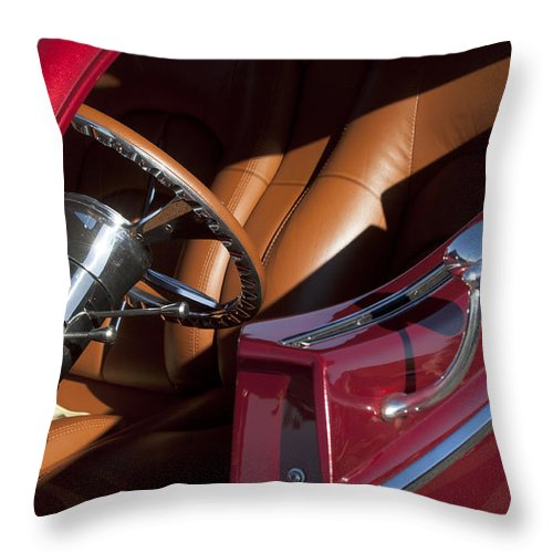Hot Rod Throw Pillow featuring the photograph Hot Rod Steering Wheel by Jill Reger