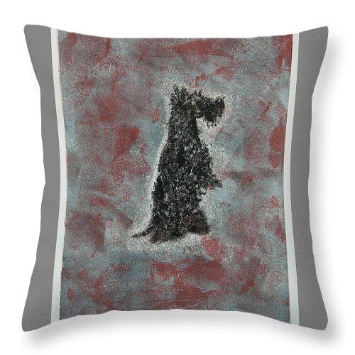 Scottish Terrier Throw Pillow featuring the mixed media Hot Scottie by Cori Solomon