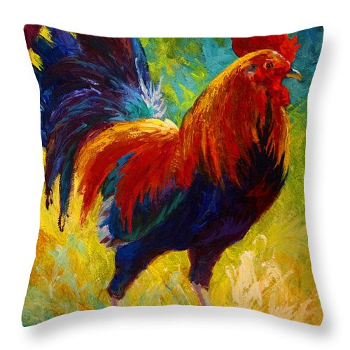 Rooster Throw Pillow featuring the painting Hot Shot - Rooster by Marion Rose