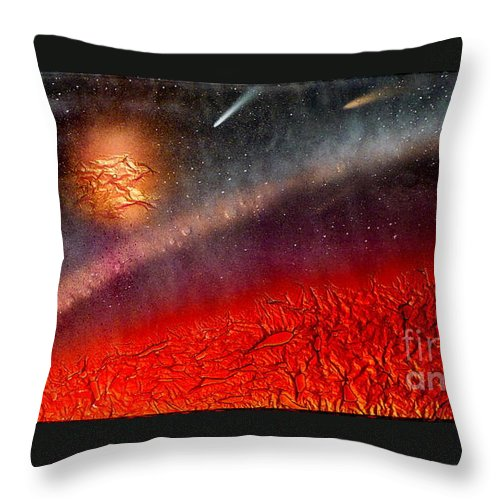 Landscape Throw Pillow featuring the painting Hot Space by Rick Silas