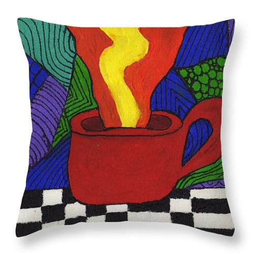 Tea Throw Pillow featuring the painting Hot Spot Of T by Wayne Potrafka