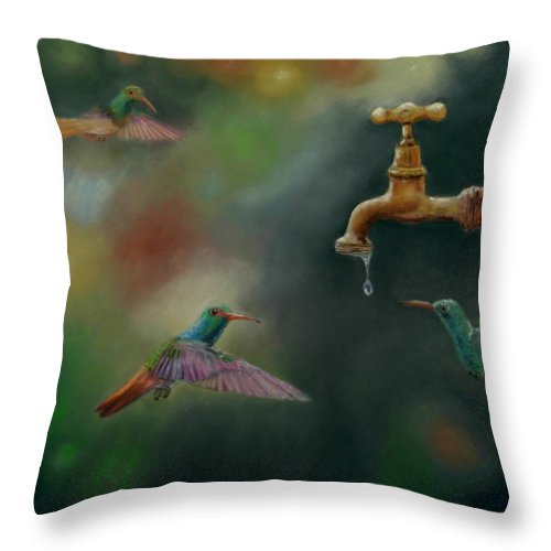Birds Throw Pillow featuring the pastel Hot Summer Days by Ceci Watson