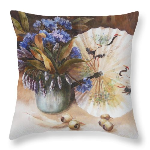 Flowers Throw Pillow featuring the painting Hot Summer by Ekaterina Mortensen