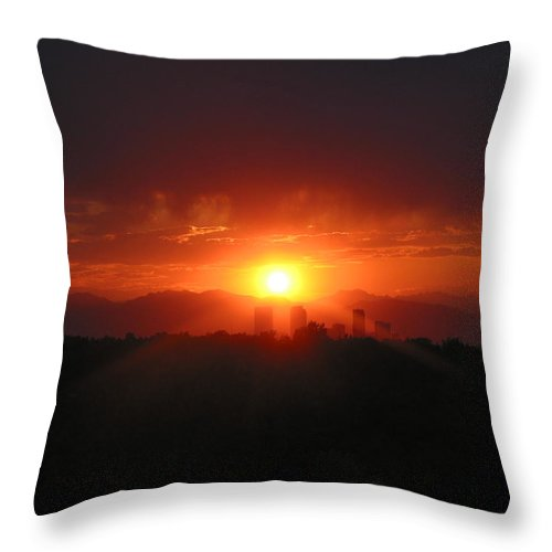 Sunset Throw Pillow featuring the photograph Hot Summer Night II Denver Co by Jacqueline Russell