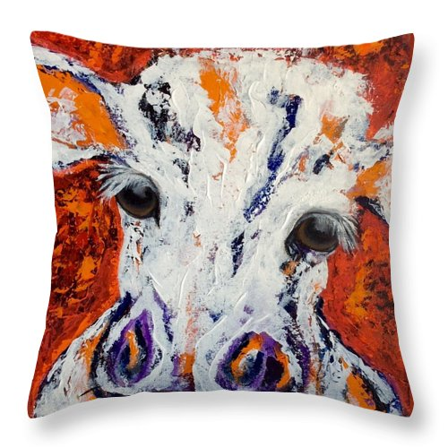 Cow Throw Pillow featuring the painting Hot Tamale by Mary Papageorgiou