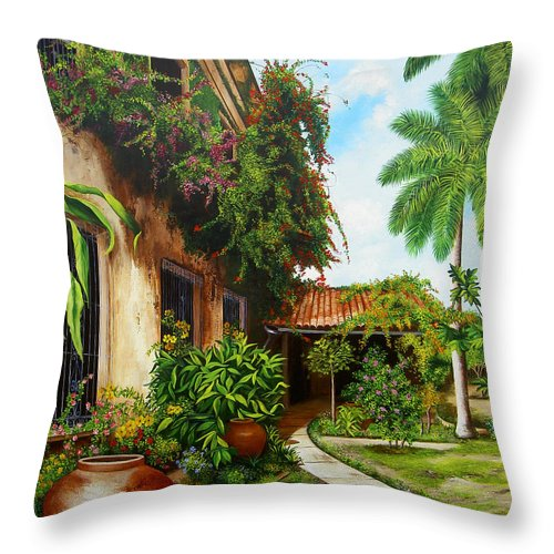 Cuban Throw Pillow featuring the painting Hotel Camaguey by Dominica Alcantara