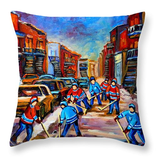 Montreal Throw Pillow featuring the painting Hotel De Ville Montreal Hockey Street Scene by Carole Spandau