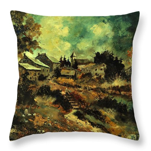 Landscape Throw Pillow featuring the painting Houdremont by Pol Ledent