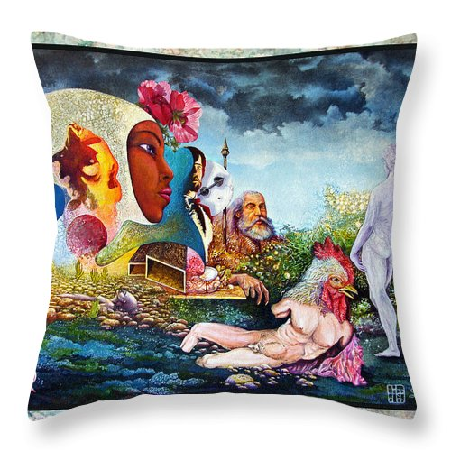 Surrealism Throw Pillow featuring the mixed media Hour Of The Cock by Otto Rapp