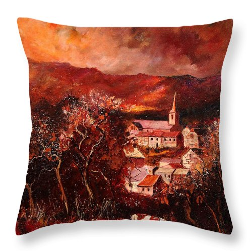 Tree Throw Pillow featuring the painting Hour Village 67 by Pol Ledent