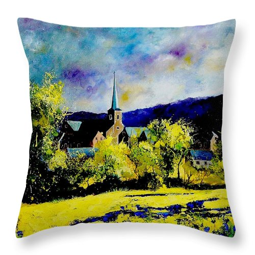 Poppies Throw Pillow featuring the painting Hour Village Belgium by Pol Ledent