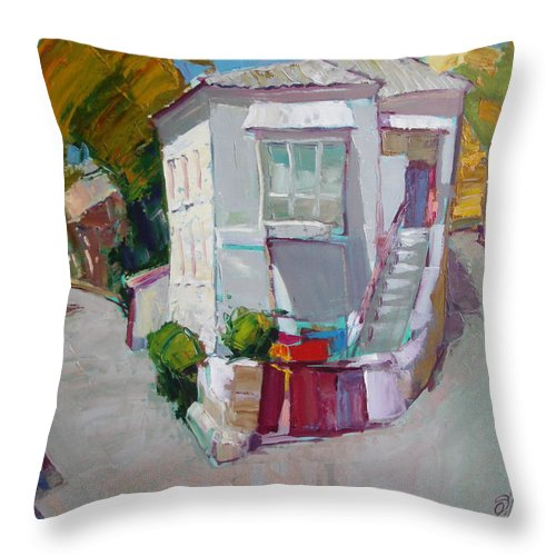 Ignatenko Throw Pillow featuring the painting Hous In Crimea by Sergey Ignatenko
