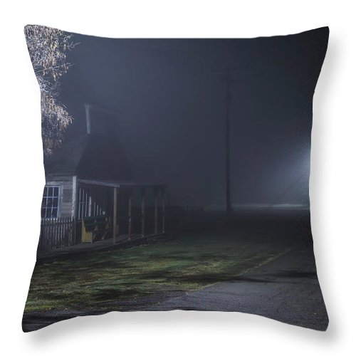 Night Throw Pillow featuring the photograph House At The End Of The Road by Cat Connor