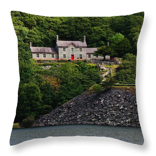 Across The Lake Throw Pillow featuring the photograph House By The Llyn Peris by Mickey At Rawshutterbug