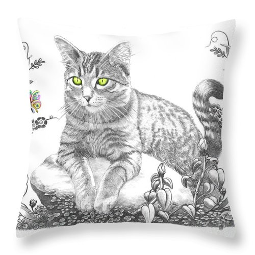 Cat Throw Pillow featuring the drawing House Cat by Murphy Elliott