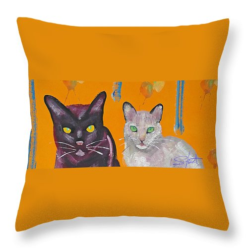 Cat Throw Pillow featuring the painting House Cats by Charles Stuart