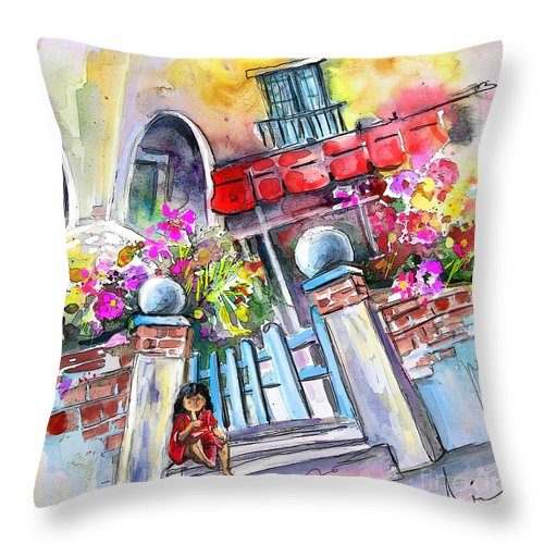 Garrucha Painting Throw Pillow featuring the painting House Entrance In Garrucha by Miki De Goodaboom