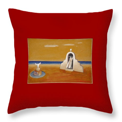 Chirico Throw Pillow featuring the painting House Of Eros by Dimitris Milionis