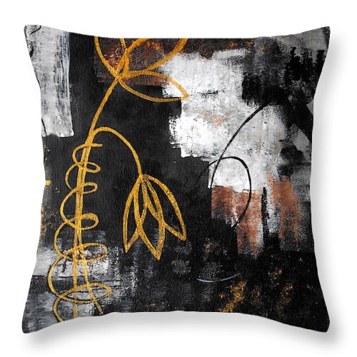 Abstract Throw Pillow featuring the painting House Of Memories by Ruth Palmer