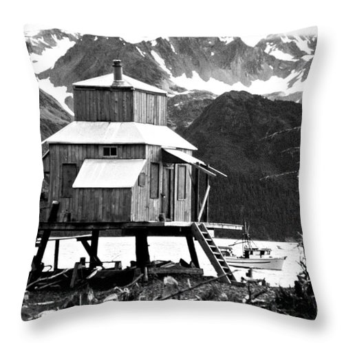 Alaska Throw Pillow featuring the photograph House Of Stilts Bw by James BO Insogna