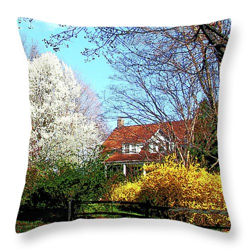 Spring Throw Pillow featuring the photograph House On The Hill In Spring by Susan Savad