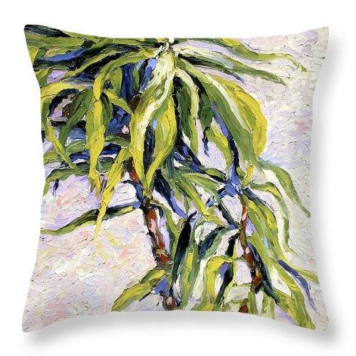 Yucca Throw Pillow featuring the painting House Plant by Lewis Bowman