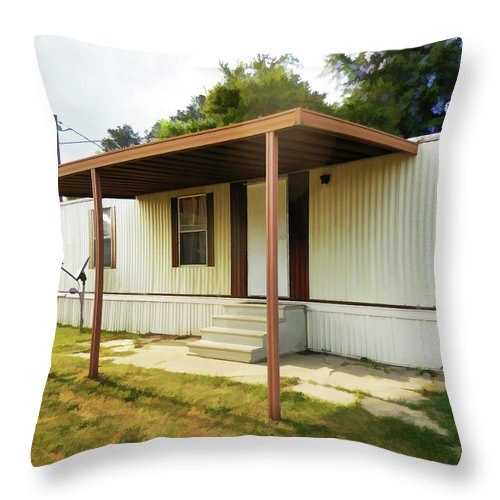 House Trailer Park Throw Pillow featuring the painting House Trailer Park by Jeelan Clark