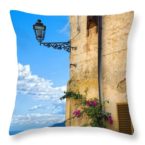 Architecture Throw Pillow featuring the photograph House With Bougainvillea Street Lamp And Distant Sea by Silvia Ganora