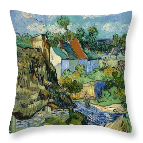 Vincent Van Gogh Throw Pillow featuring the painting Houses In Auvers by Van Gogh