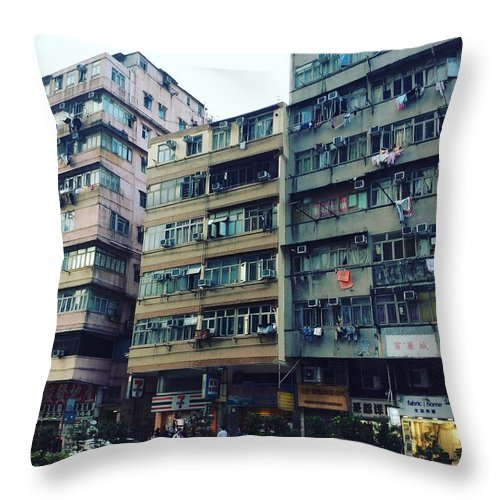Hongkong Throw Pillow featuring the photograph Houses of Kowloon by Florian Wentsch
