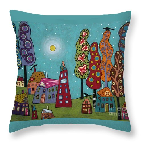 Landscape Throw Pillow featuring the painting Houses Trees And Birds by Karla Gerard