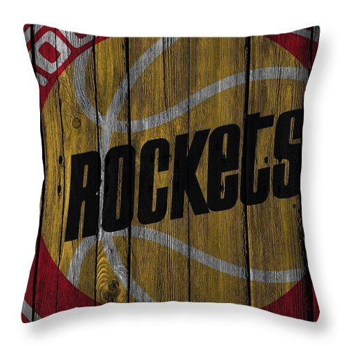 Rockets Throw Pillow featuring the photograph Houston Rockets Wood Fence by Joe Hamilton
