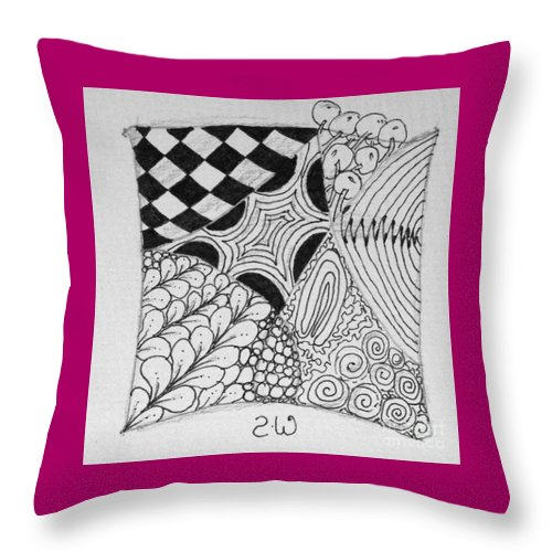 Zentangle Throw Pillow featuring the drawing Houston To Los Angeles by Sharra Walton