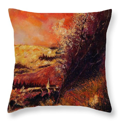 Tree Throw Pillow featuring the painting Houyet In Fall by Pol Ledent