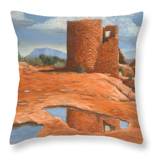 Anasazi Throw Pillow featuring the painting Hovenweep Reflection by Jerry McElroy