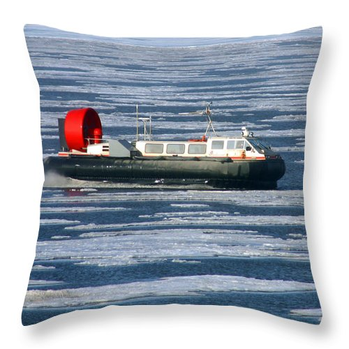 Arctic Ocean Throw Pillow featuring the photograph Hovercraft On Frozen Artic Ocean by Anthony Jones