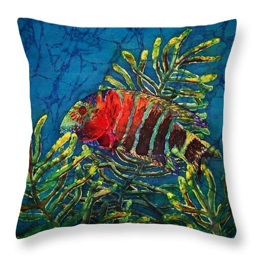Fish Throw Pillow featuring the painting Hovering - Red Banded Wrasse by Sue Duda