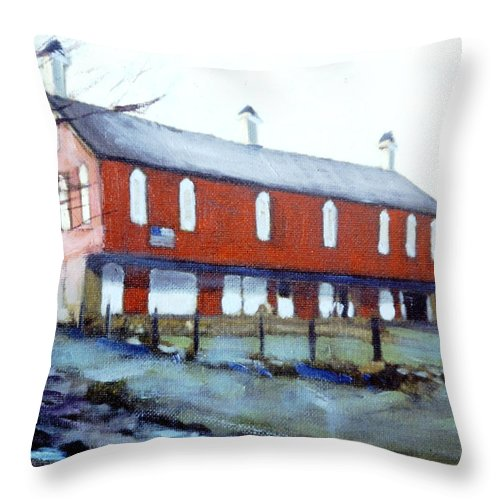 Throw Pillow featuring the painting How Brave Is The Redman Standing Proud by David Zimmerman