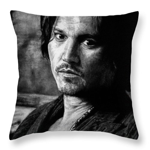 Johnny Depp Man Pirate Actor Hollywood Bullshit Public Blow Sexy Beautiful Hot Chocolate Portrait Feeling Throw Pillow featuring the drawing How Does It Feel by Priscilla Vogelbacher