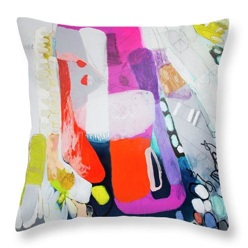 Abstract Throw Pillow featuring the painting How Many Fingers? by Claire Desjardins
